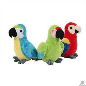 Staande pluche papegaai beide van 17 CM.