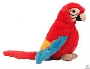 Pluche zittende Papegaai Rood 20 cm.