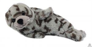 Liggende pluche zeehond grijs met vlekken 25 cm.