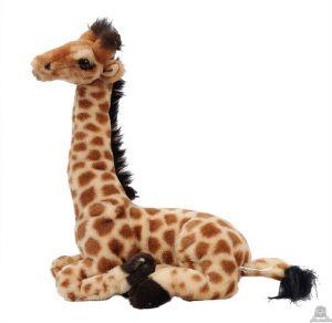 Zittende pluche giraffe beide van 30 CM.