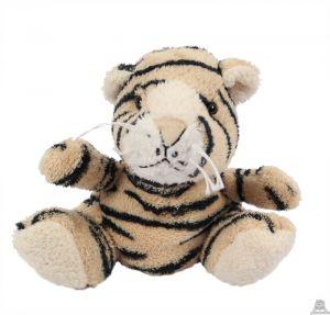 Zittende soft-pluche tijger beide van 12 CM.