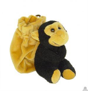Zittende pluche chimpansee beide van 12 CM.