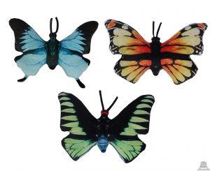 Pluche vlinder 3 kleuren van 32 cm.