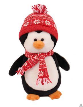 Staande pluche Pinguin met muts en shawl van 32 cm
