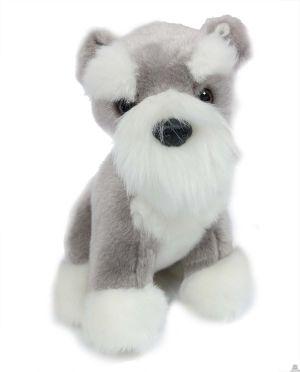 Zittende pluche Hond schnauzer 20 cm