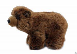 Zittende pluche grizzlybeer van 21 cm