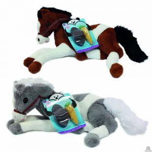 Liggende pluche Paard 50 cm in 2 kleuren.
