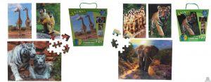 3 in 1 puzzel wilde dieren 3D afbeelding