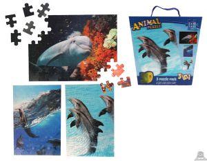 3 in 1 puzzel dolfijnen 3D afbeelding