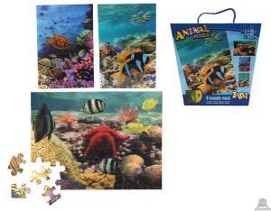 3 in 1 puzzel tropische zeedieren 3D afbeelding