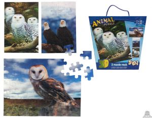 3 in 1 puzzel roofvogels 3D afbeelding