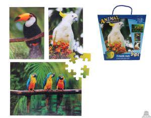 3 in 1 puzzel tropische vogels 3D afbeelding