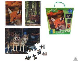 3 in 1 puzzel bosdieren 3D afbeelding