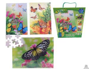 3 in 1 puzzel vlinders 3D afbeelding