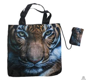 Stoere vouwtas met opbergzakje tijgerprint.