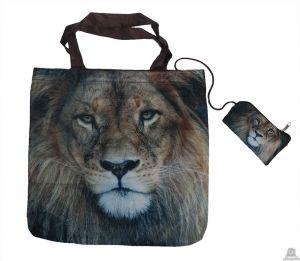 Stoere vouwtas met opbergzakje Leeuwenprint.