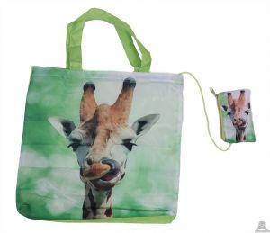 Stoere vouwtas met opbergzakje giraffeprint.