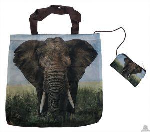 Stoere vouwtas met opbergzakje olifantenprint.