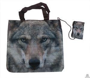 Stoere vouwtas met opbergzakje wolvenprint.