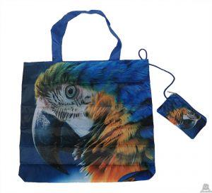 Stoere vouwtas met opbergzakje papengaaienprint.