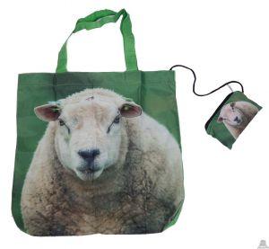 Stoere vouwtas met opbergzakje schapenprint.