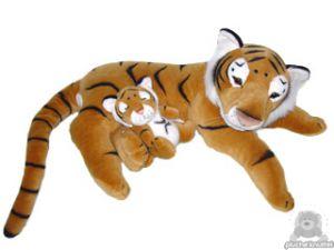 Liggende pluche tijger beide van 80 CM.