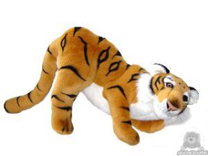 Staande pluche tijger beide van 45 CM.