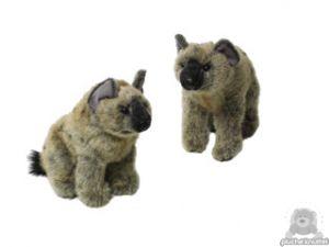 Zittende pluche hyena beide van 26 CM.