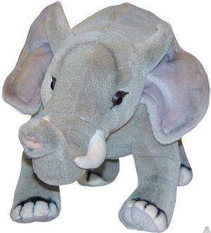 Staande pluche olifant beide van 42 CM.